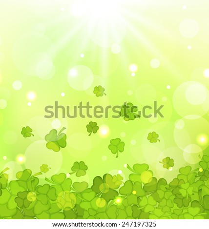 Illustration glowing background with shamrocks for St. Patrick's Day - vector - stock vector