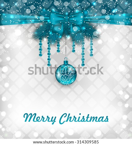 Illustration Glowing Celebration Background with Christmas Traditional Elements - vector - stock vector