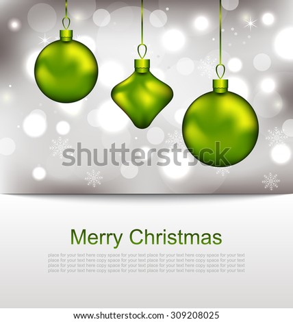 Illustration Glowing Postcard with Christmas Balls - Vector - stock vector