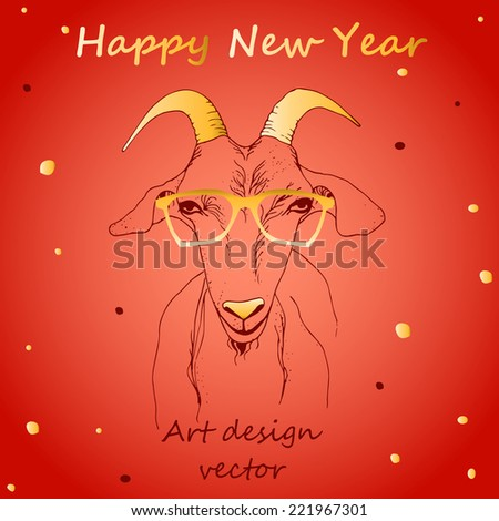 Illustration goat head, drawing hands, New Year 2015, vector