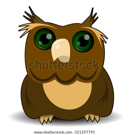 illustration goggle-eyed wise owl with green eyes