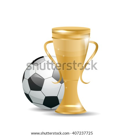 Illustration Golden Cup with Football Ball. Objects Isolated on White Background - Vector - stock vector