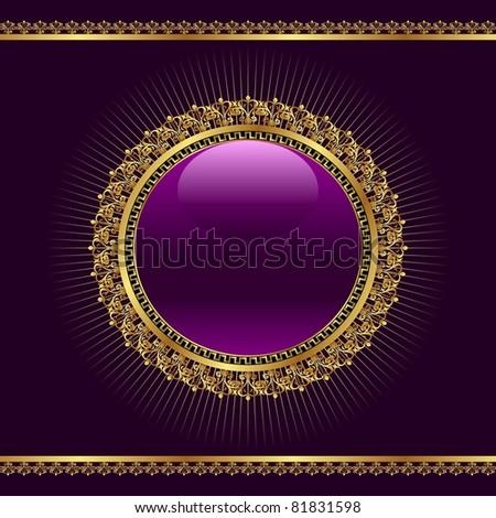 Illustration golden ornamental medallion for design - vector - stock vector