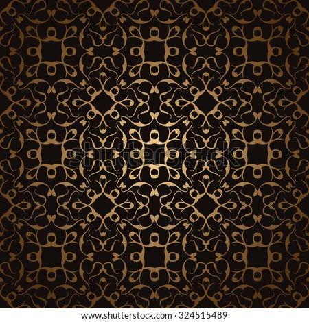Illustration golden seamless pattern on a dark background. Luxury design for wallpapers, card, invitations and other