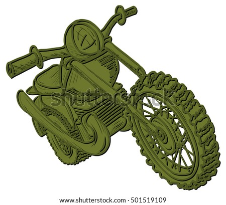 Illustration Graphic Drawing Motorcycle on a White Background It is not derived from another illustration or photograph