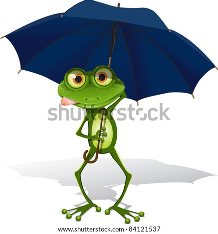 illustration, green frog with blue umbrella on white background