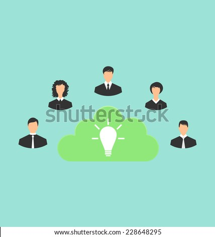 Illustration group of business people creating new idea - vector - stock vector