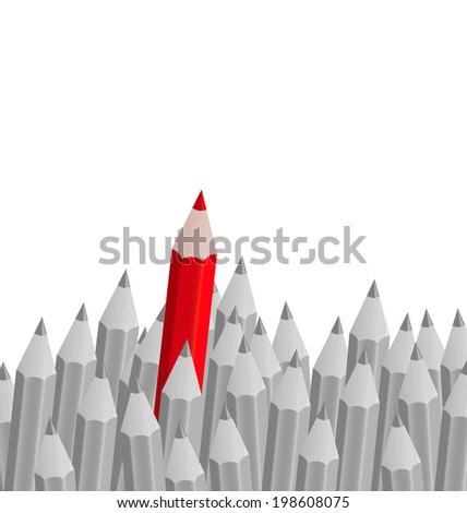Illustration group of pencils with one highlighted as business concept for leadership - vector - stock vector