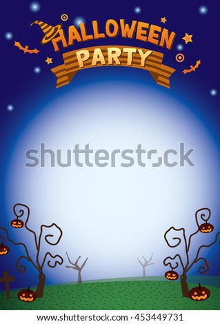 Illustration halloween party background template vector with the blue moon of night.Blank for your message. - stock vector