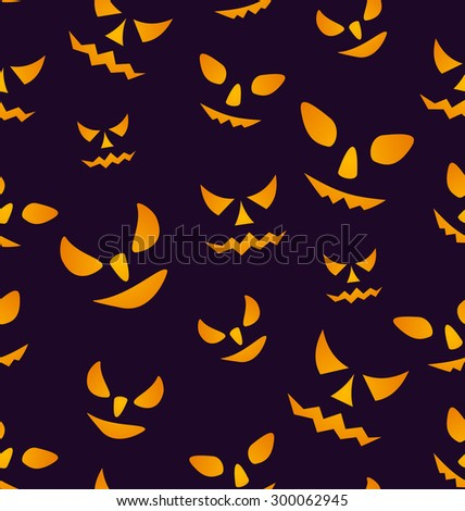 Illustration Halloween Seamless Pattern with Angry Eyes, Scary Decoration - Vector - stock vector