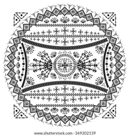 illustration hand drawing tribal vector ethnic design - stock vector