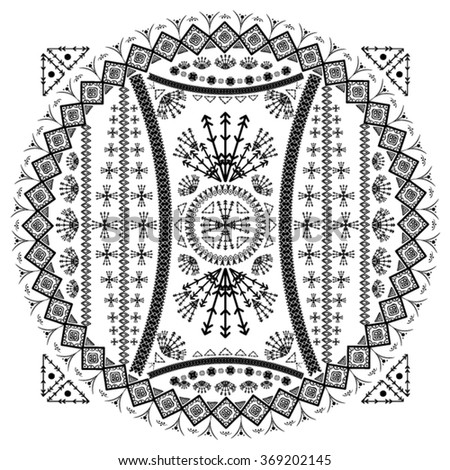 illustration hand drawing tribal vector ethnic design and indian textile printing bohemian design black and white background - stock vector