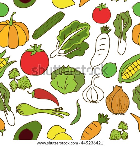 Illustration Hand Drawn Seamless Vegetable Pattern.