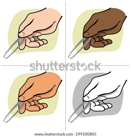Illustration hand person holding tweezers, ethnicity. Ideal for catalogs, informative and institutional guides