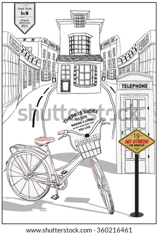 illustration handmade drawing vector bicycle and telephone and street - stock vector