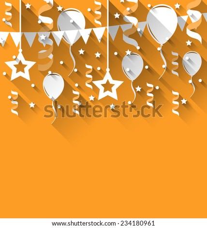 Illustration happy birthday background with balloons, stars and pennants, trendy flat style - vector - stock vector