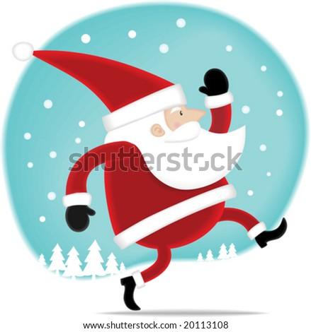 Illustration Happy Santa walking on the snow - stock vector