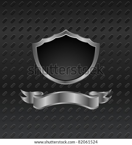 Illustration heraldic shield on metallic background - vector - stock vector