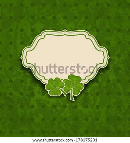 Illustration holiday card with clovers for St. Patrick's Day - vector - stock vector