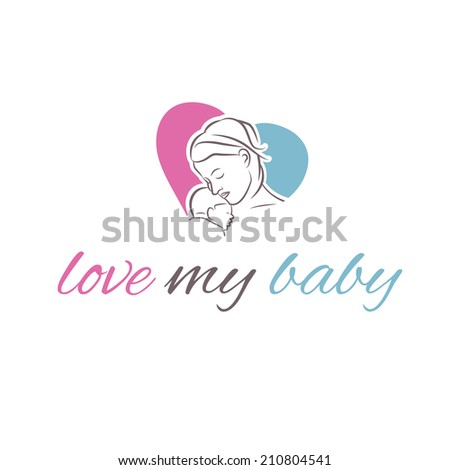 illustration icon mother and her baby in shape heart - stock vector