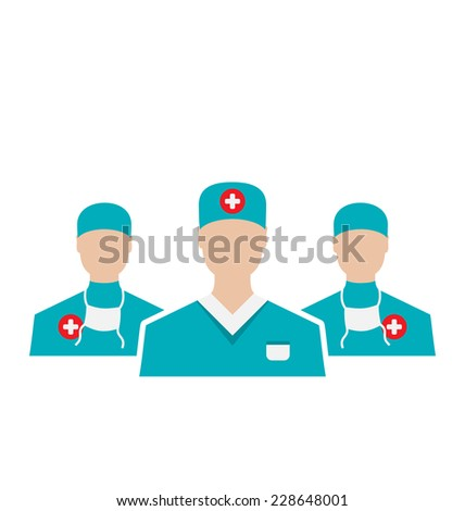 Illustration icons set of medical employees in modern flat design style, isolated on white background - vector - stock vector