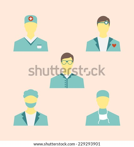 Illustration icons set of medical employees in modern flat design style - vector - stock vector