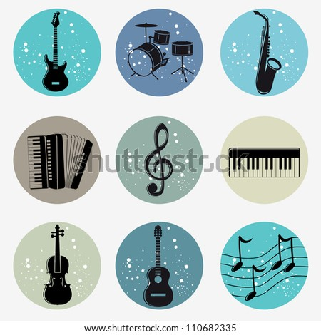 illustration icons silhouettes of musical instruments in grunge style - stock vector