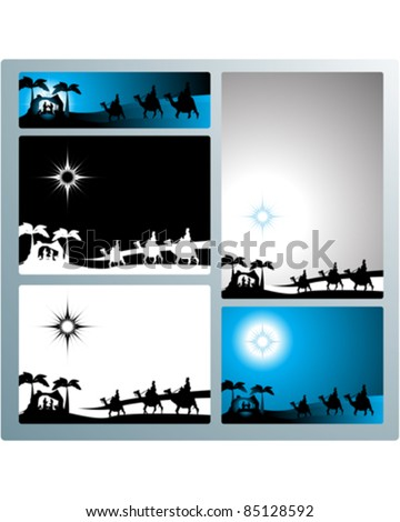 Illustration in different formats, horizontal banner format and horizontal l and vertical letter format. They represent the nativity scene with the three wise men. - stock vector