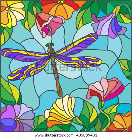 Illustration in stained glass style with bright dragonfly against the sky, foliage and flowers - stock vector