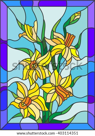 Illustration in stained glass style with daffodils on blue background - stock vector