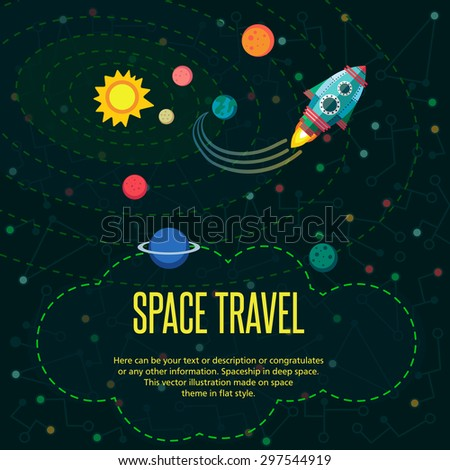 Illustration in style flat about outer space.