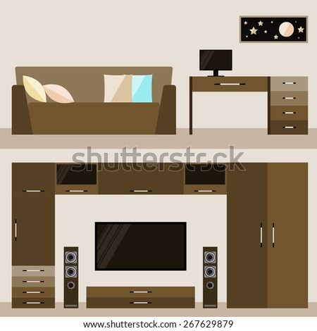 illustration in trendy flat style with brown beige room interior for use in design for for card, invitation, poster, banner, placard or billboard cover - stock vector