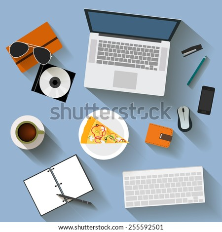 illustration in trendy flat style with items used in usual life of modern people isolated on soft blue background for use in design for card, invitation, poster, banner, placard or billboard  - stock vector