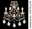 illustration included sconces with crystal pendants on black - stock photo
