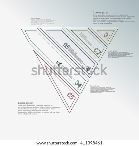 Illustration infographic template with motif of triangle which is askew divided to five color parts created by double contour outlines. Each item contains number, text and sign. Background is blue.