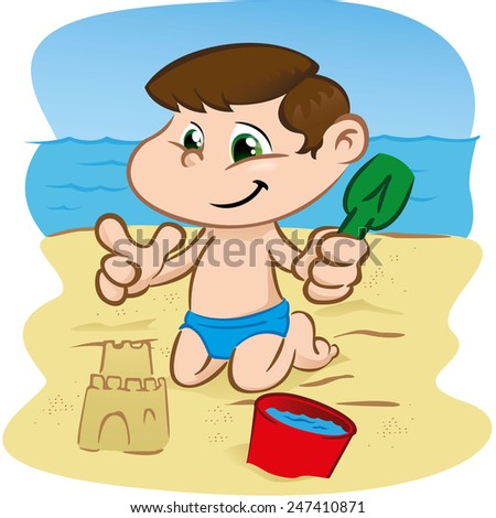 Illustration is a character character child playing on the beach. Ideal for sports and institutional information - stock vector