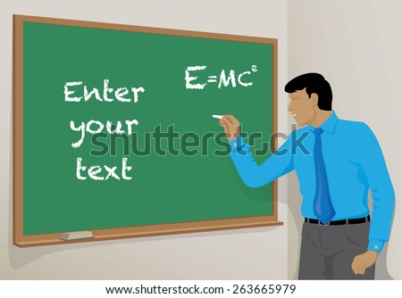 Illustration is a Person teacher writing on the blackboard in school class, ideal for educational material and institutional - stock vector