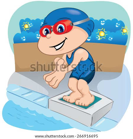 Illustration is a swimming athlete child preparing to enter the pool, sports, games or competition, ideal for educational, sports and institutional materials - stock vector