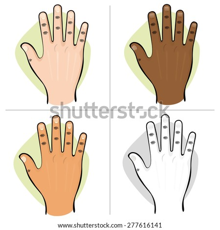 Illustration is part of the human body ethnic, hand open top view. Ideal for educational material and institutional - stock vector