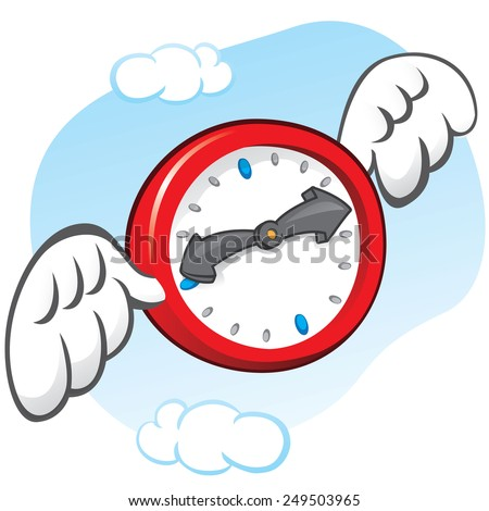 Illustration is the saying that time flies, represented by a clock with wings. Can be used in ads and institutional - stock vector