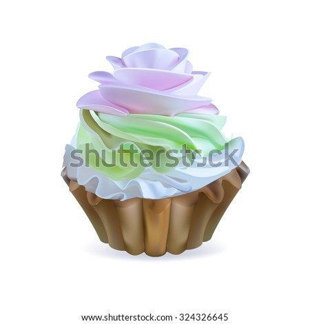 illustration isolated cake basket with cream, vector