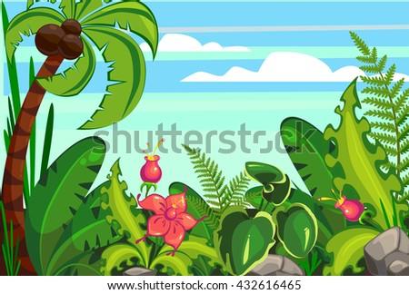 Illustration Jungle on the ocean coast - stock vector