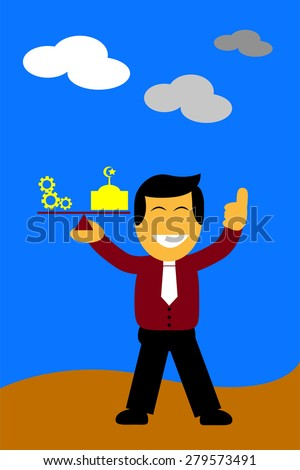 illustration, key for success is balancing between work and pray - stock vector
