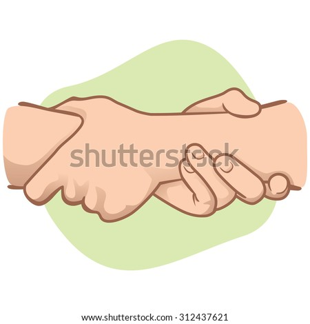 Illustration leaning hands holding a wrist in the other. Ideal for catalogs, informative and institutional material - stock vector