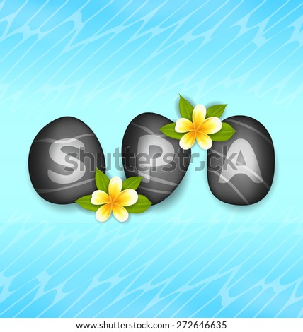 Illustration Lettering Spa Made of Stones and Frangipani Flowers, Concept Zen Natural Wallpaper - Vector - stock vector
