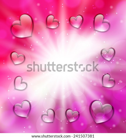 Illustration lighten background with glassy hearts for Valentine Day, copy, space for your text - vector - stock vector