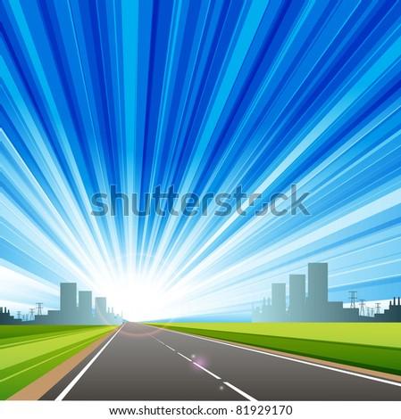 illustration, long road in city under blue sky - stock vector
