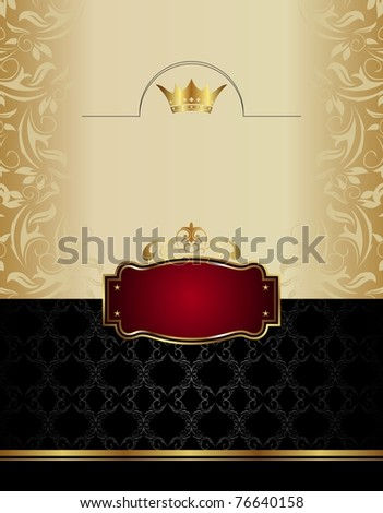 Illustration luxury gold wine label with emblem  - vector - stock vector