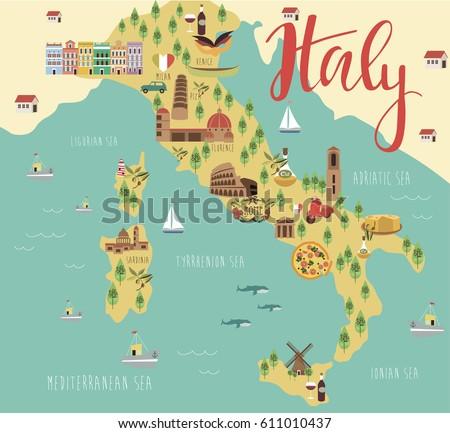 Illustration Map Italy Animals Landmarks Vector Stock Vector