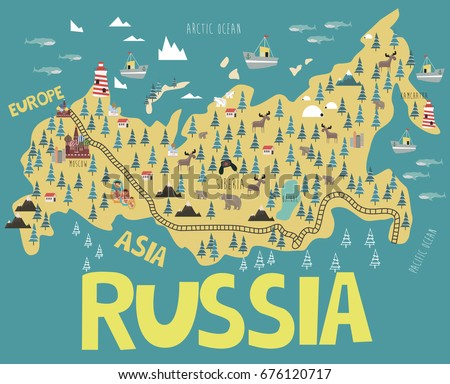 Illustration Map Russia Landmarks Animals Landscape Stock Vector - Map russia